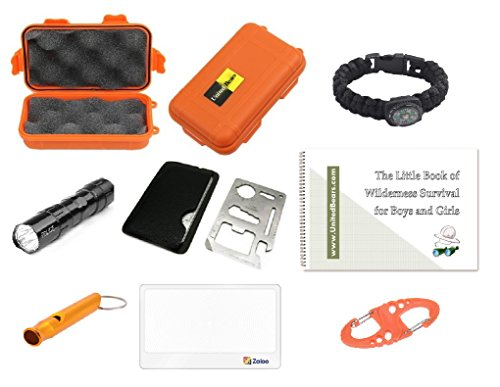 EZ Outdoor Adventure Kit for Boys and Girls ♥ The Little Book of Wilderness Survival, Waterproof Box, Multi-Functional Tool, Magnifying Lens, Paracord Bracelet with Compass, Whistle, Flashlight, Hook ()