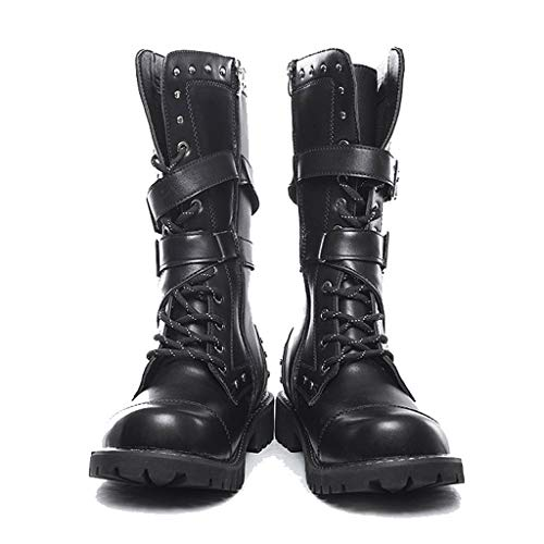 Black Tide High Boots for Mens Casual Engineer Lace Up Buckle Leather Motorcycle Shoes (US:8, Black 5) (Lotto Soccer Boots)
