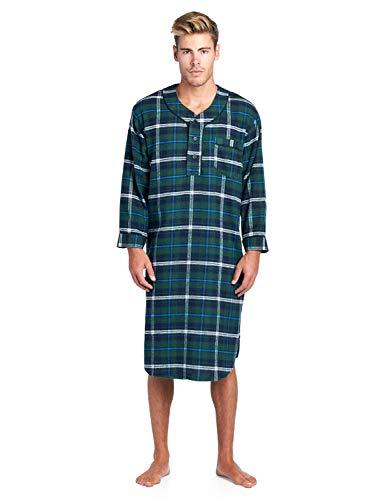 Ashford & Brooks Mens Flannel Plaid Long Sleep Shirt Henley Nightshirt - Navy/Green/White/Aqua - 2X-Large -