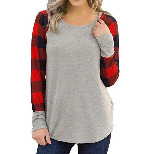 8149837f7e0 Oliviavan Women's Plus Size Long Sleeve O-Neck Plaid Printing T-Shirt  Blouse Tops
