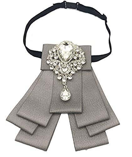 - High-grade Rhinestone Women Crystal Bow Brooches Collar Pin Jewelry ribbon Fabric Bowknot (silver)