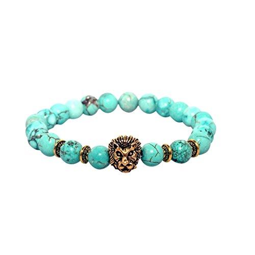 (Maya Bracelets Lion Head Charm Marble Stone Elastic Bracelet (Teal Gold))