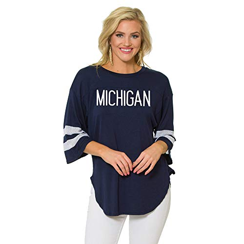 Flying Colors Officially Licensed NCAA University of Michigan Wolverines - Women's Sleeve Jersey Top (UM)