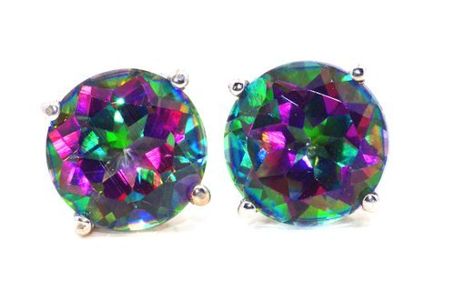 Earrings 14kt Solid (Natural Mystic Topaz Round Stud Earrings 14Kt White Gold & Sterling Silver)