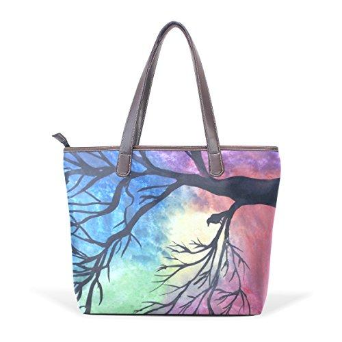 Coosun Womens Colorful Tree Pu Leder Große Einkaufstasche Griff Umhängetasche