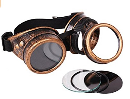Nicky Bigs Novelties Steampunk Cosplay Goggles, Black, One Size 7