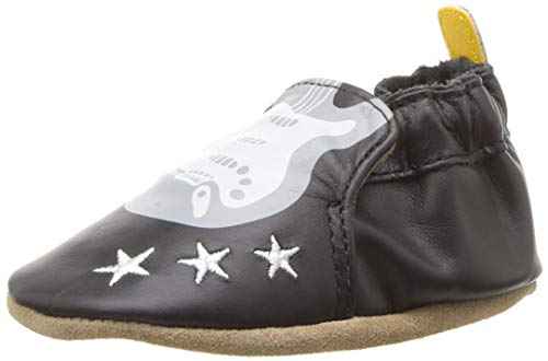 Robeez Boys' Soft Soles Crib Shoe, Rock Out Black, 12-18 Months M US Infant