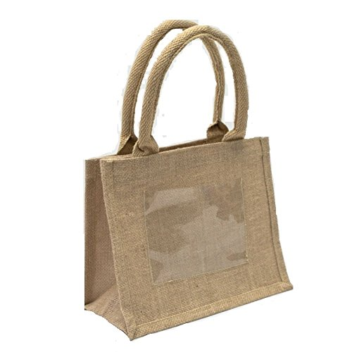 - Burlap Jute Tote Bags with Front Pocket |Set of 6 | Perfect for Weddings, Parties and Events | Great as a Gift Bag
