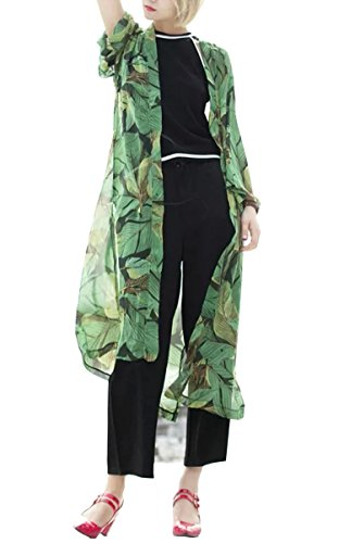 - Hibluco Women's Sheer Chiffon Floral Kimono Cardigan Long Blouse Loose Tops Outwear (Large, K 8)