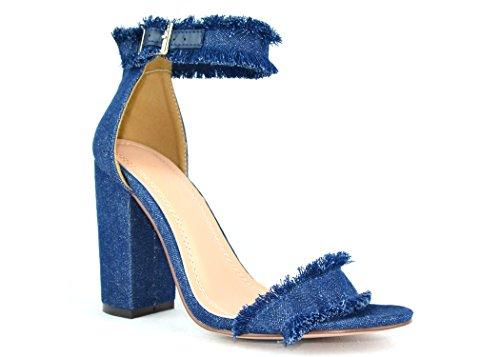 Chase & Chloe Maise-1 Sandalo Con Tacco Donna Con Design Rifinito E Cinturino Alla Caviglia Color Denim Scuro