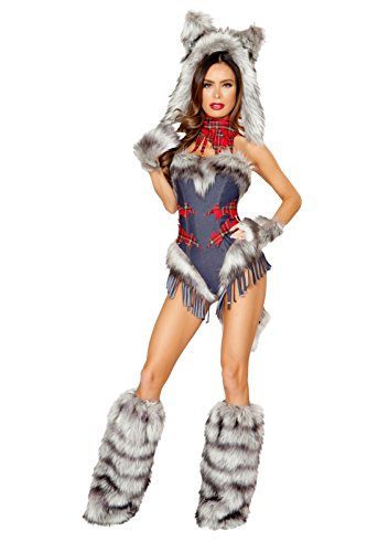 1 PC Big Bad Wolf Girl Gray Fringe Romper Party Costume -