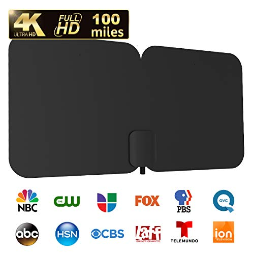 HDTV Antenna, 1byone 100-Mile Indoor/Outdoor Amplified Digital TV Antenna-Weather Resistant Support UHF/VHF/1080P HD Freeview Channels, 26 Feet Coaxial Cable (Black) (Best Tv For Price 2019)