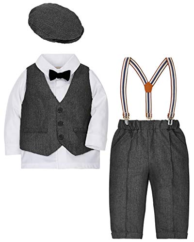 DISAUR Baby Boys Gentleman Outfits Suits Tuxedo 4 pcs Hat + Bow Ties Shirts + Vest + Suspenders Pants for 1-3 Years Black ()