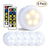 LUNSY Wireless LED Puck Lights, Closet Lights 3AA Battery Operated with Remote Control, Dimmable Kitchen Under Cabinet Lighting, Cool White/Warm White Light - 6 Pack