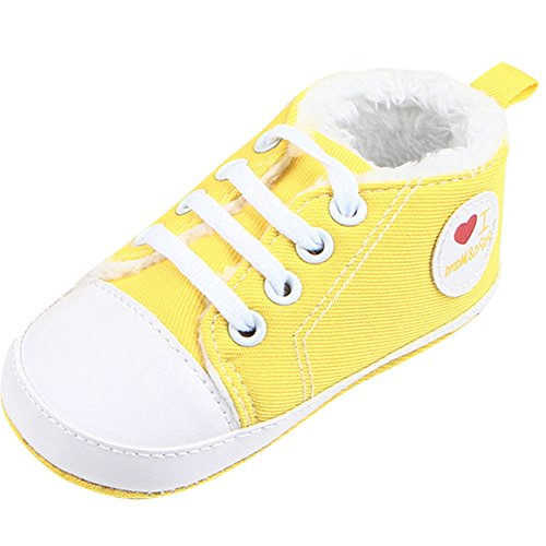 Fire Frog Baby Sport Sneakers - Zapatos primeros pasos de Lona para niño amarillo