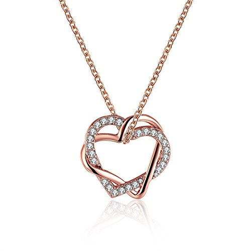 FENDINA Women 18K Rose Gold Plated Pendant Necklace Double Hearts Twisted Bling Cubic Zirconia Necklace for Mom Sister 18 Inches Chain Valentin's Day Gift for Girlfriend