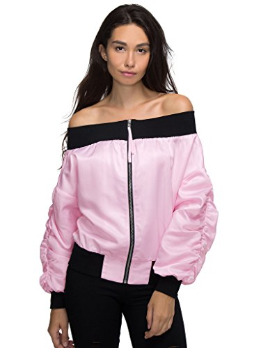Off Shoulder Contrast Trims Bomber Jacket,Medium (Trim Jean Jacket)