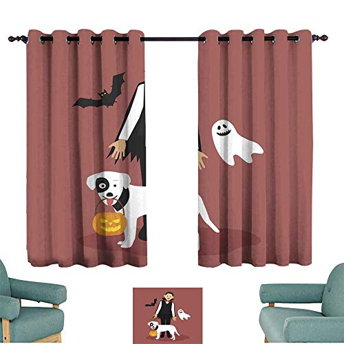 Warm Family Simple Curtain Halloween Dracula Costumes with White Dog Carrying a Pumpkin for Living, Dining, Bedroom (Pair)