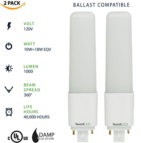 Life Led Lamps - LED G24 4-Pin PL Lamp 10W=(18W Equivalent) Compact Fluorescent Lamp Replacement; Non Dimmable; 40,000 Life Hours; Ballast Compatible; 120V; 1000 Lumens (Cool White 4000K) 2 Pack