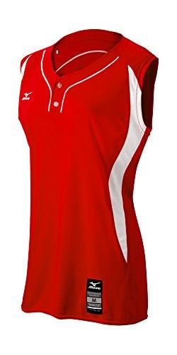 Sleeveless 2 Button Softball Jersey - Mizuno Girl's Elite 2-Button Game Jersey - Sleeveless, Red-White, Medium (M)