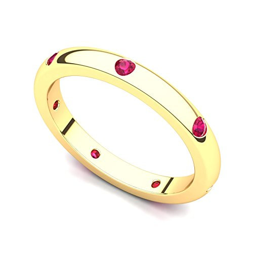 14k Yellow Gold Bezel set Ruby Semi Eternity Band Ring, 7 14k Yellow Gold Semi Bezel