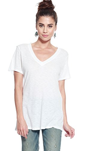 Alexander + David Women's Slub Cotton Modal Tops Burnout Loose V-Neck Boyfriend T-Shirt Stitch Back Casual Tee (White, Small) ()