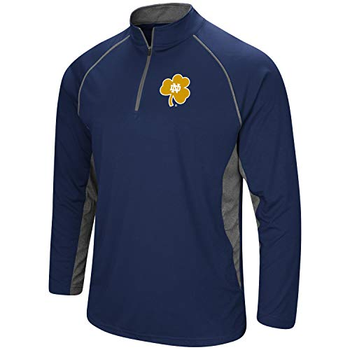 Colosseum Men's NCAA-Rival-1/4 Zip Pullover-Notre Dame Fighting Irish-Navy-Large