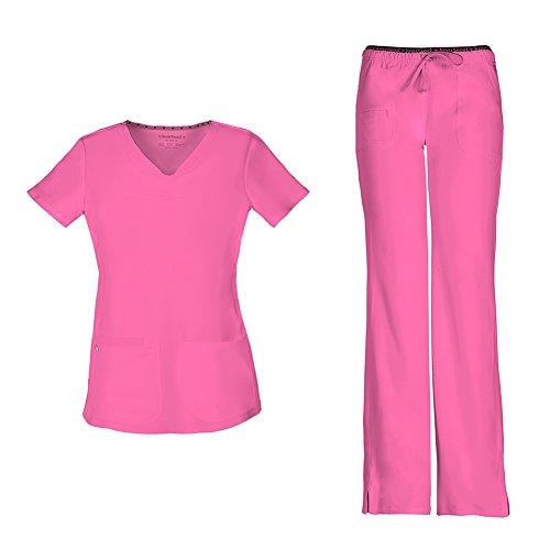 HeartSoul Women's Pitter-Pat Shaped V-Neck Scrub Top 20710 & Heartbreaker Heart Soul Drawstring Scrub Pants 20110 Medical Scrub Set (Pink Party - Medium/Medium)