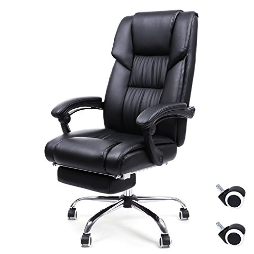 Leather Recliner Cushion Swivel Like (SONGMICS Office Chair High Back Executive Swivel Chair with Large Seat and Pull-out Footrest PU Leather Black UOBG71B)