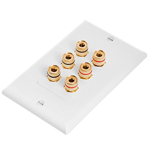 - Cmple - Speaker Wall Plate (Banana Plug Wall Plate) Speaker Wire Wallplate for 3 Speakers - White Decora Style