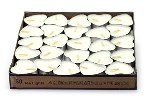 Creationtop Scented Candles Tea Lights Mini Hearts Home Decor Aroma Candles Set of 50 pcs mini candles - Set Candle White Heart