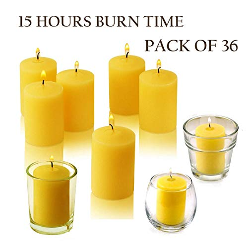Citronella Votive Candles 15 Hour Burn Time - Pack of 36 - Made from High Scented Citronella to Scare Away Mosquito, Bug and Flies - for Outdoor/Indoor - Made in USA