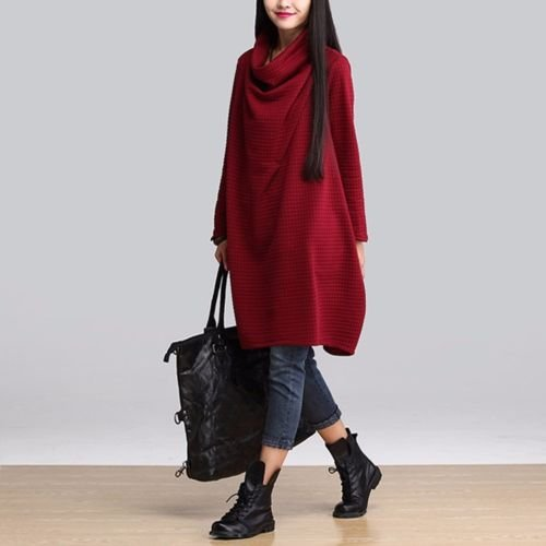 Casuale Donne Corto Abito Manica Pullover Rosso Bininbox Sovradimensionato In Lunga Cotone rA8r0q
