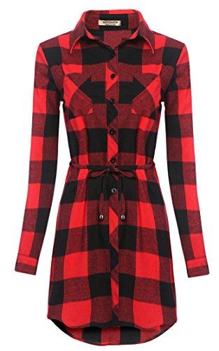Rouge Blanc Bleu Top S Carreaux Haut Noir Noir XL Manches Chemisier Rouge Beige Longues Femme HOTOUCH Chic Longue Chemise 6ABB7T