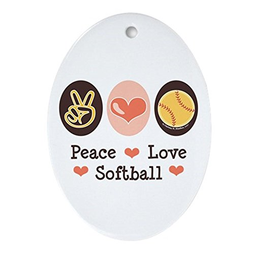 CafePress Peace Love Softball Team Oval Ornament Oval Holiday Christmas Ornament