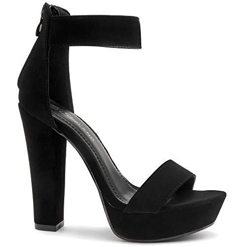 Herstyle Cutesy Women's Open Toe Ankle Strap Chunky Platform Dress Heel Sandal Black 8.0 ()