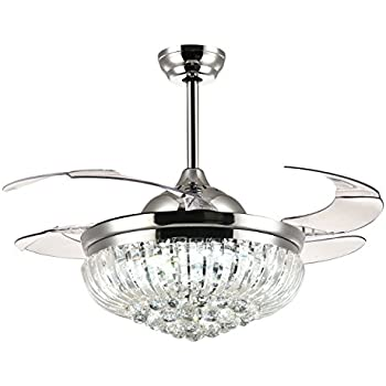 Moooni Dimmable Led Fandelier Crystal Retractable Ceiling