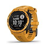 Garmin Instinct, Rugged Outdoor Watch with GPS, Features GLONASS and Galileo, Heart Rate Monitoring and 3-axis Compass, Sunburst Yellow