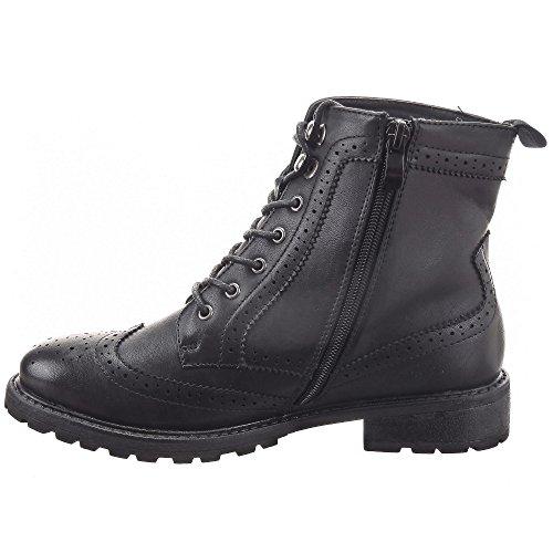 Sopily - Zapatillas de Moda Botines zapato derby Low boots Tobillo mujer Líneas Cremallera Talón Tacón ancho 3 CM - plantilla textil - Negro