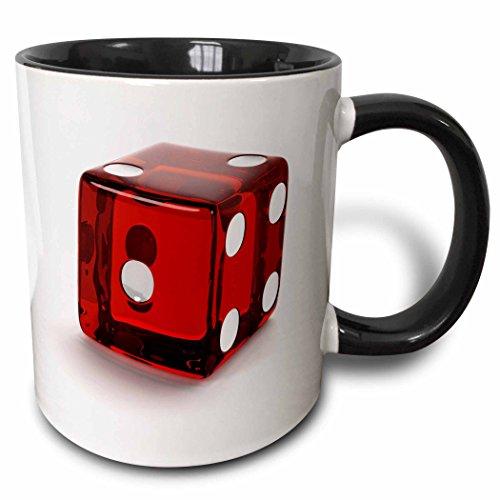(3D Rose 236290_4 Red Semi Transparent Casino Die on White Background Two Tone Ceramic Mug, Black)