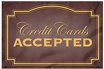 Credit Cards Accepted 12x8 CGSignLab Classic Brown Wind-Resistant Outdoor Mesh Vinyl Banner