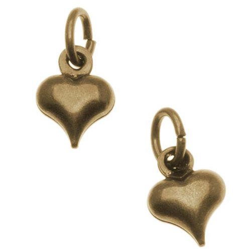 Antiqued Brass Small Puff Heart Charm With Ring - 8.5x6.5mm (6)