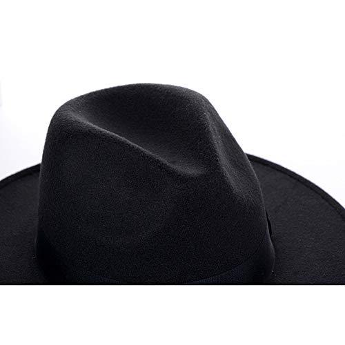 Sombrero Grande Gran Jazz Playa navy Fieltro Mujer Hhmz Borde De Lana En Brown Inglaterra La Caballero Negro Retro AqpXUg