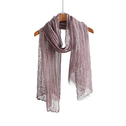 Linen Lightweight Light Scarf Shawl Wrap Summer Scarves For Men And Women (100% linen purple)