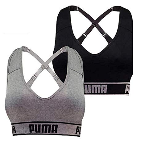 PUMA Women's Seamless Sports Bra Removable Cups - Adjustable Straps Moisture Wicking (2 Pack) (Black - Gray, Small)