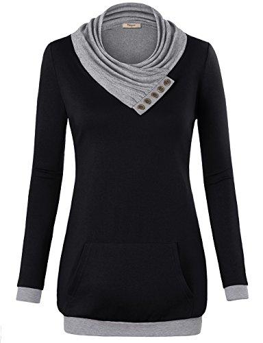 Timeson Color Block, Women's Long Sleeve Button Cowl Neck Pullover Kangaroo Pocket Knitted Sweatshirt Black XL