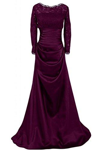 per con abiti Uva raso a abiti da in fodera eleganti maniche da basso donna sposa Sunvary lunghe da tacco donna wS8qx7
