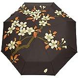 senya Travel Umbrella Flower Pattern 3 Folding Umbrella Waterproof & Windproof Women and Men Auto Open Close