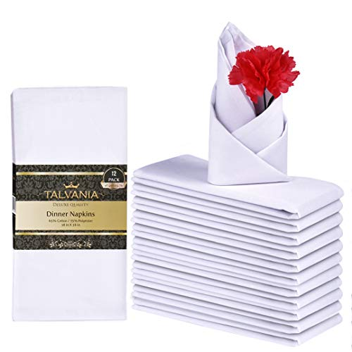 Talvania Cloth Dinner Napkins - 12 Pack Luxuriously Soft & Hotel Quality Cotton Napkins, Brilliant Crystal White Fabric Napkins (18