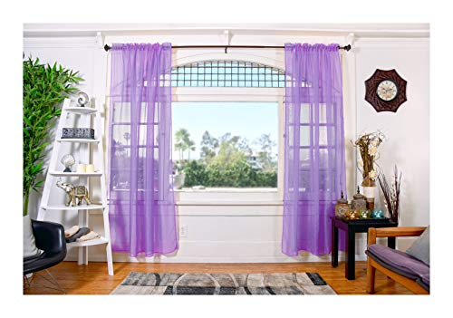 All American Collection Doli Sheer Curtains | Two 54 x 84 Panels (Lavender)